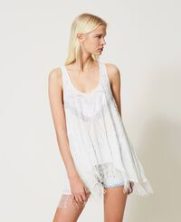 Georgette tunic with embroideries and fringes