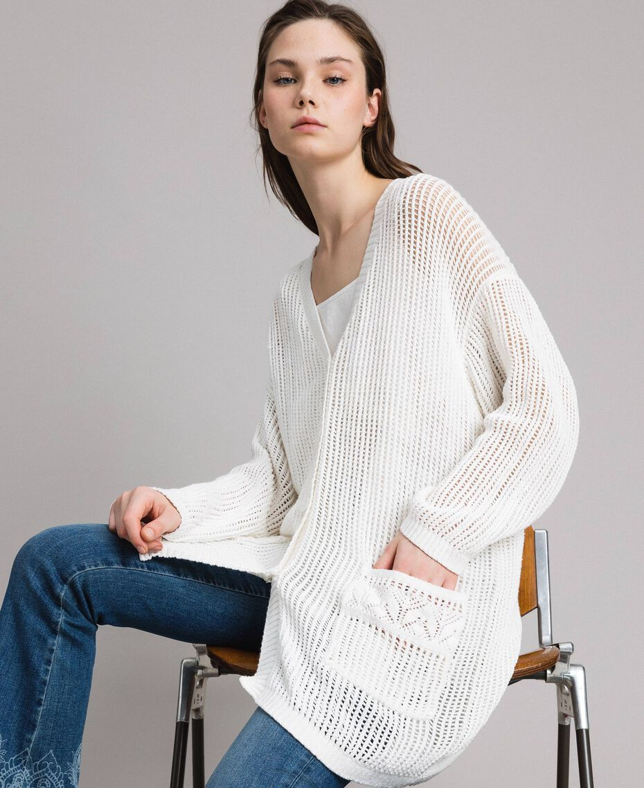 Openwork knitted cardigan Off White Woman 191ST3041-02