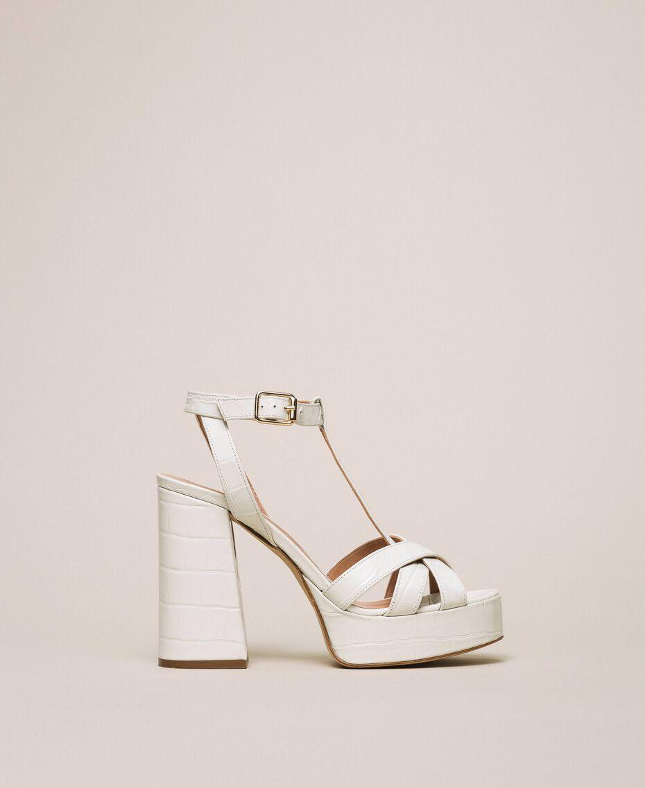 "Leather T-bar sandals ""Snow"" White Crocodile Print Woman 201TCP072-01"