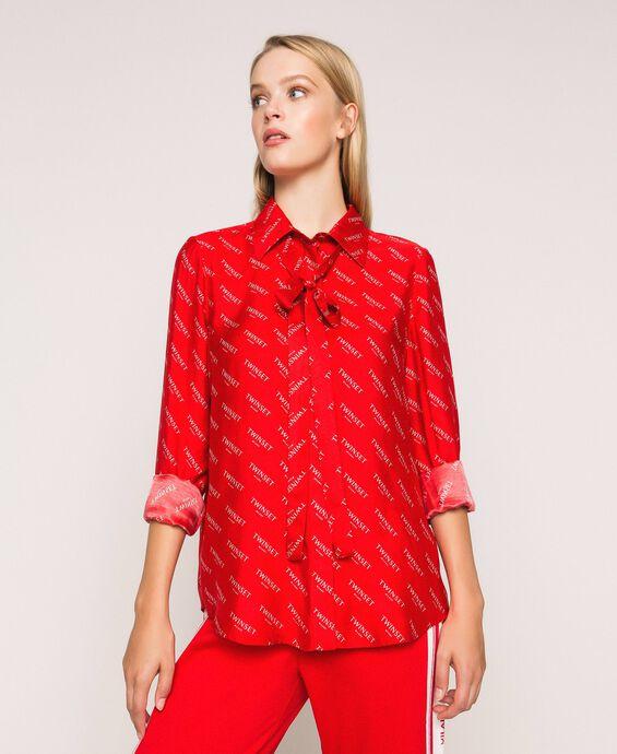 Silk blend shirt with all over logo