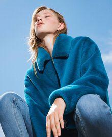Faux fur jacket Blue Baltic Blue Woman 202TP2334-01