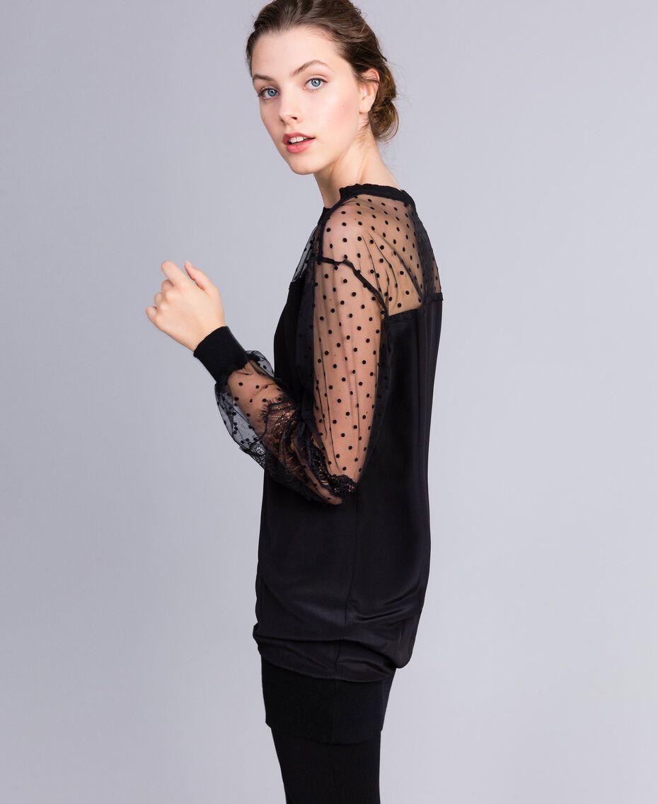 Maxi crêpe de Chine silk sweatshirt Black Woman PA82B4-02