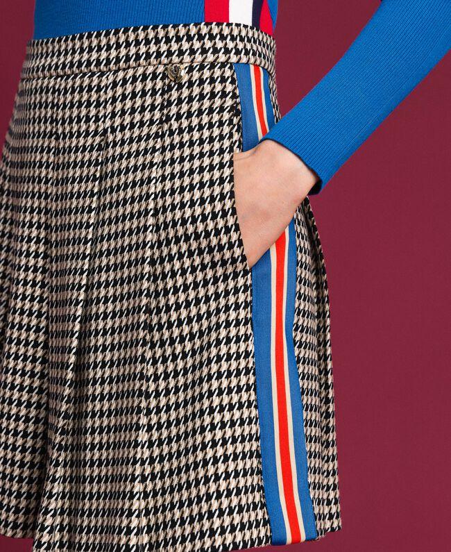 Jupe plissée avec motif pied-de-poule Pied de Poule Lys / Crème Caramel Femme 192MT2052-04