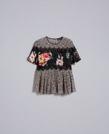 Blouse en crêpe georgette avec imprimé floral Imprimé Fleur Patch Femme PA82MH-0S