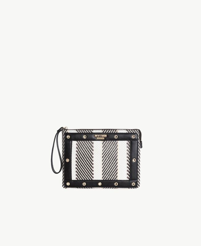 TWINSET Multicolour clutch bag Multicolour Black / Cream / Coffee Woman RS8TFE-01