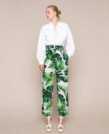 Брюки с высокой талией из набивного поплина Принт Тропический Горошек Зеленый женщина 201TP2553-01