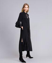 Long silk blend dress with rhinestones Black Woman TA8233-01
