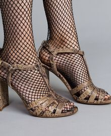 "Animal print leather sandals Brown ""Python Rock"" Woman CA8PQ3-0S"