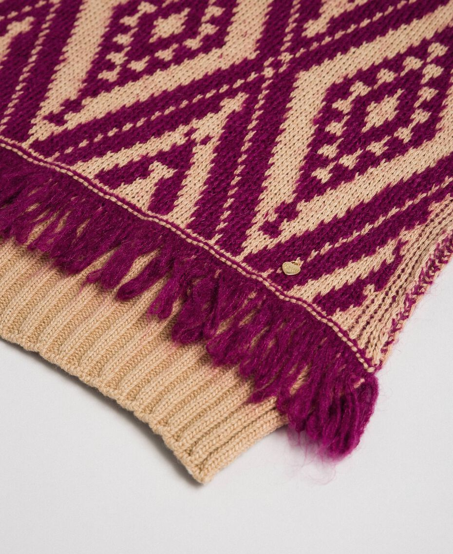 "Wool and cashmere scarf with fringes Ethnic ""Iced Coffee"" Brown/ Beet Red Jacquard Woman 192TA4418-02"