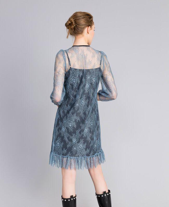 Vestido de encaje de Valenciennes Polvo azul Mujer PA82F1-03