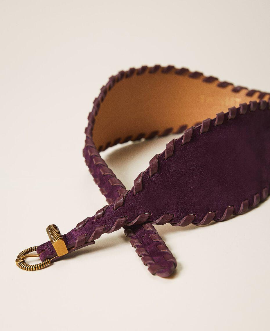 Gürtel aus Rauleder Dark Shiny Purple Frau 202TO5017-01