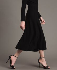 Jupe mi-longue ornée de bandes en lurex Noir Femme 191TP3253-02