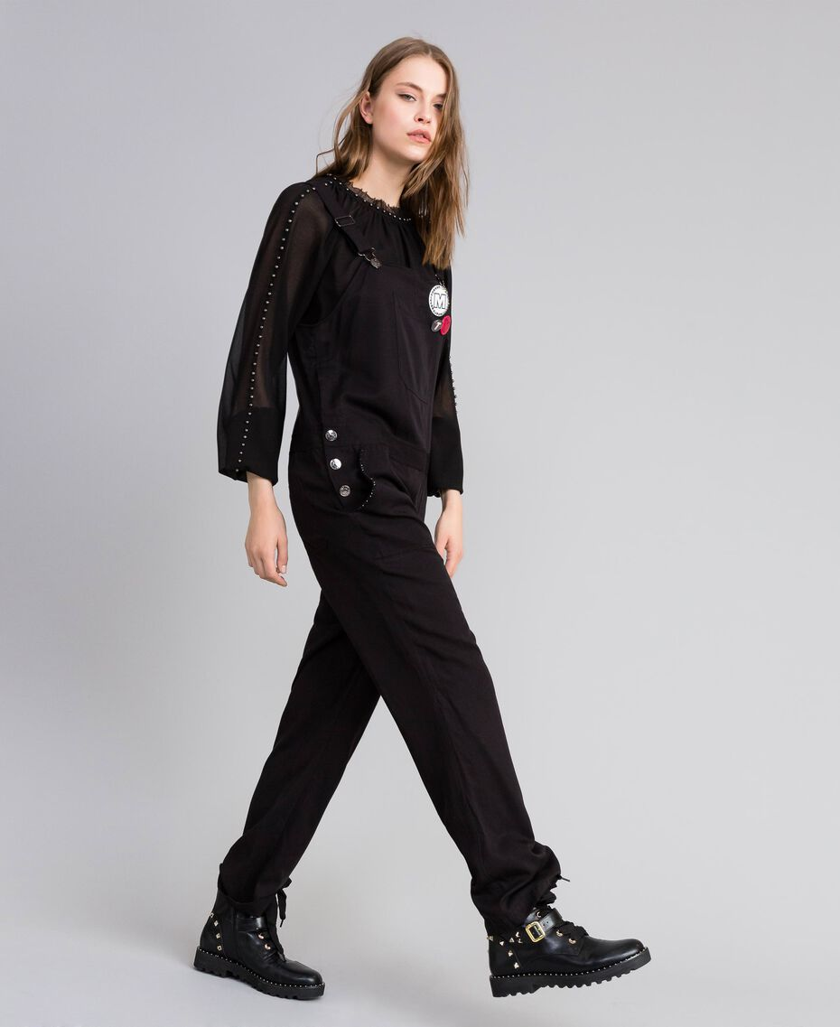 Dungarees with front pocket and pins Black Woman JA82S1-02