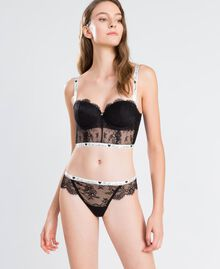 Lace thong with contrast elastic Black Woman LA8F88-0S