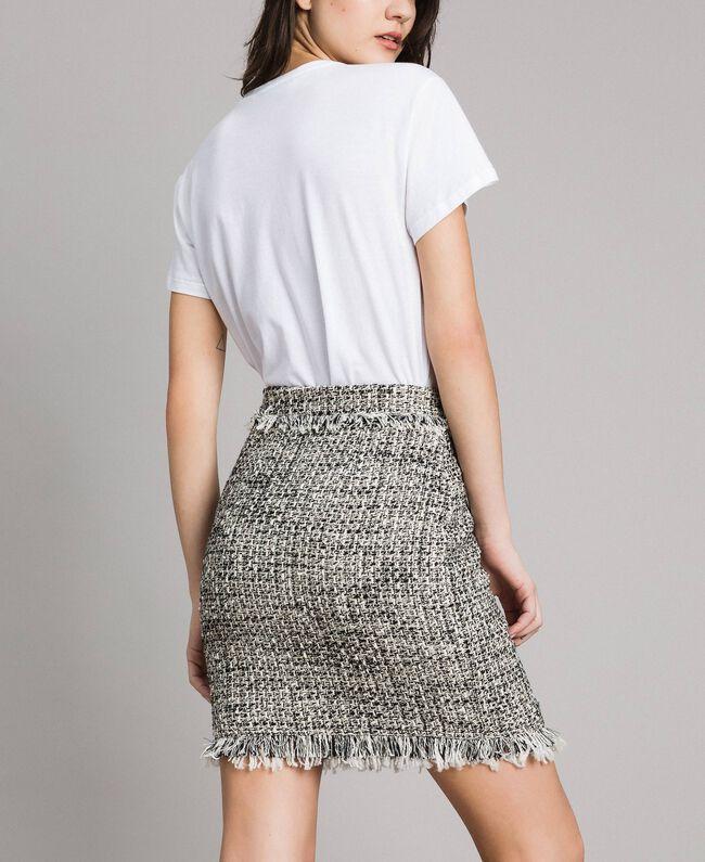 "Fringed tweed mini skirt Two-tone ""Snow"" White Bouclé / Black Woman 191TP2527-03"