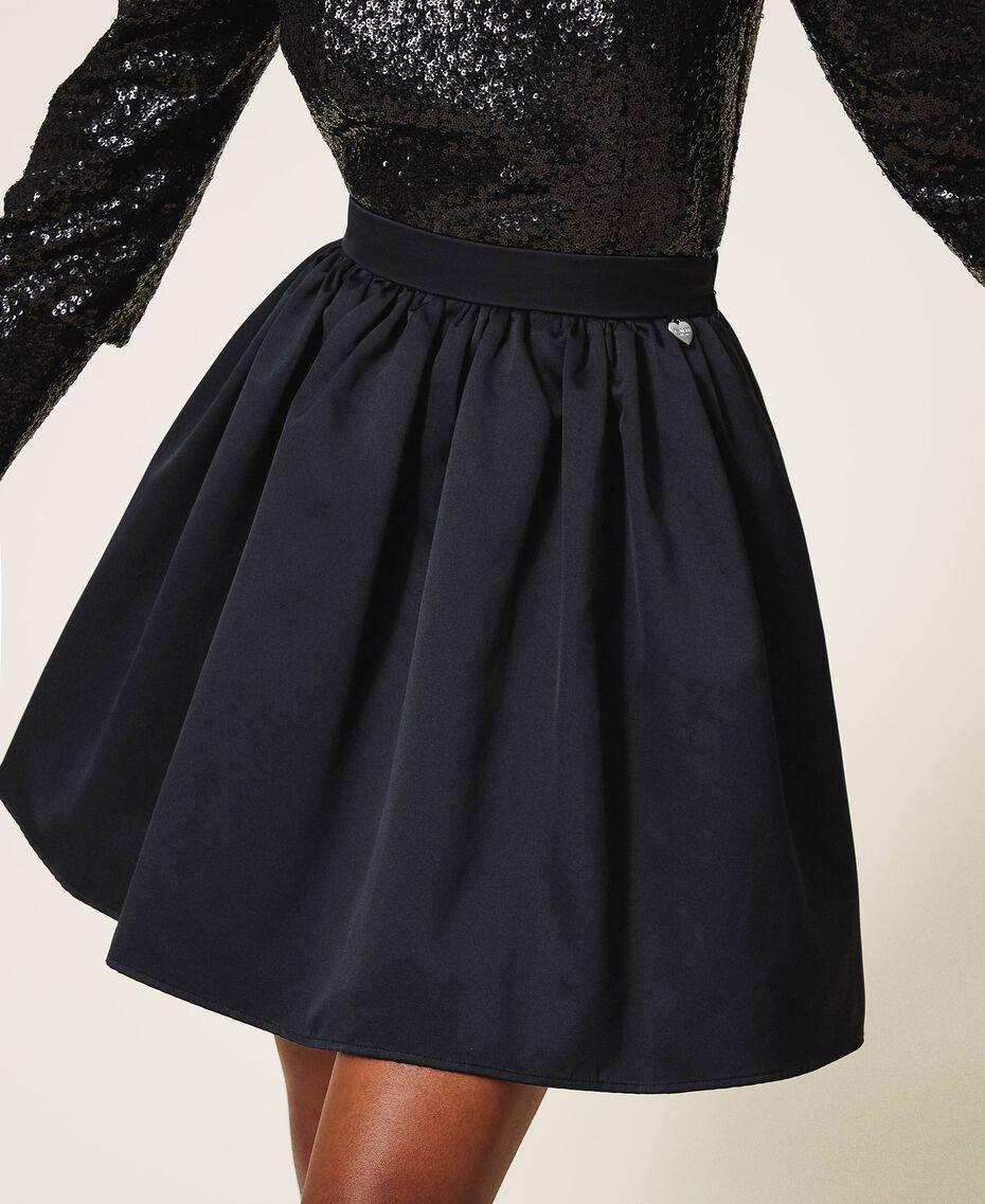 Minifalda de duquesa Negro Mujer 202TP2453-02