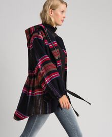 Parka en drap de laine mélangée à carreaux Carreaux Bleu Denim Femme 192MT2251-03