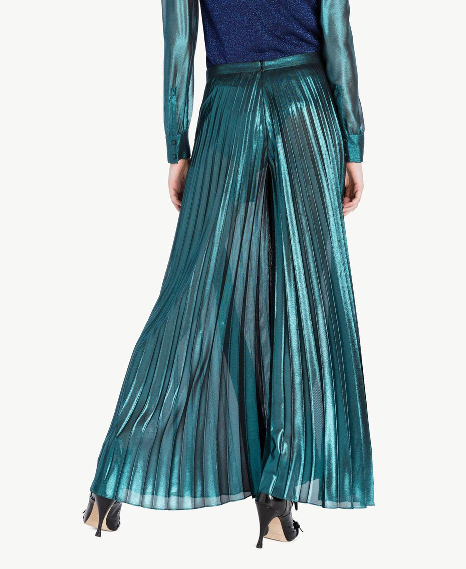 Pleated palazzo pants Metallic Turquoise Woman PS82QQ-03