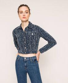 Blouson en jean avec finition bouclée Bleu Denim Femme 201MP234A-01