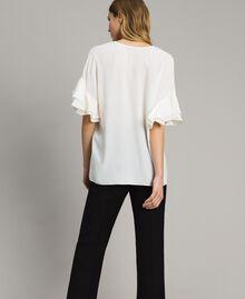 Bluse aus Seidenmischung Weiß Schnee Frau 191TT2075-03
