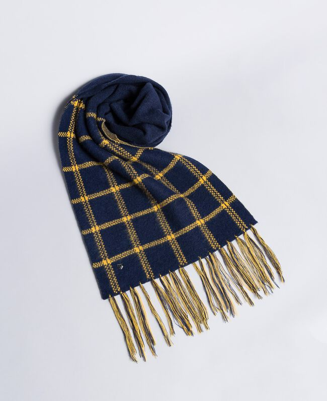 "Jacquard cloth scarf Bicolour ""Golden Yellow / Night Blue Woman RA8T1G-01"