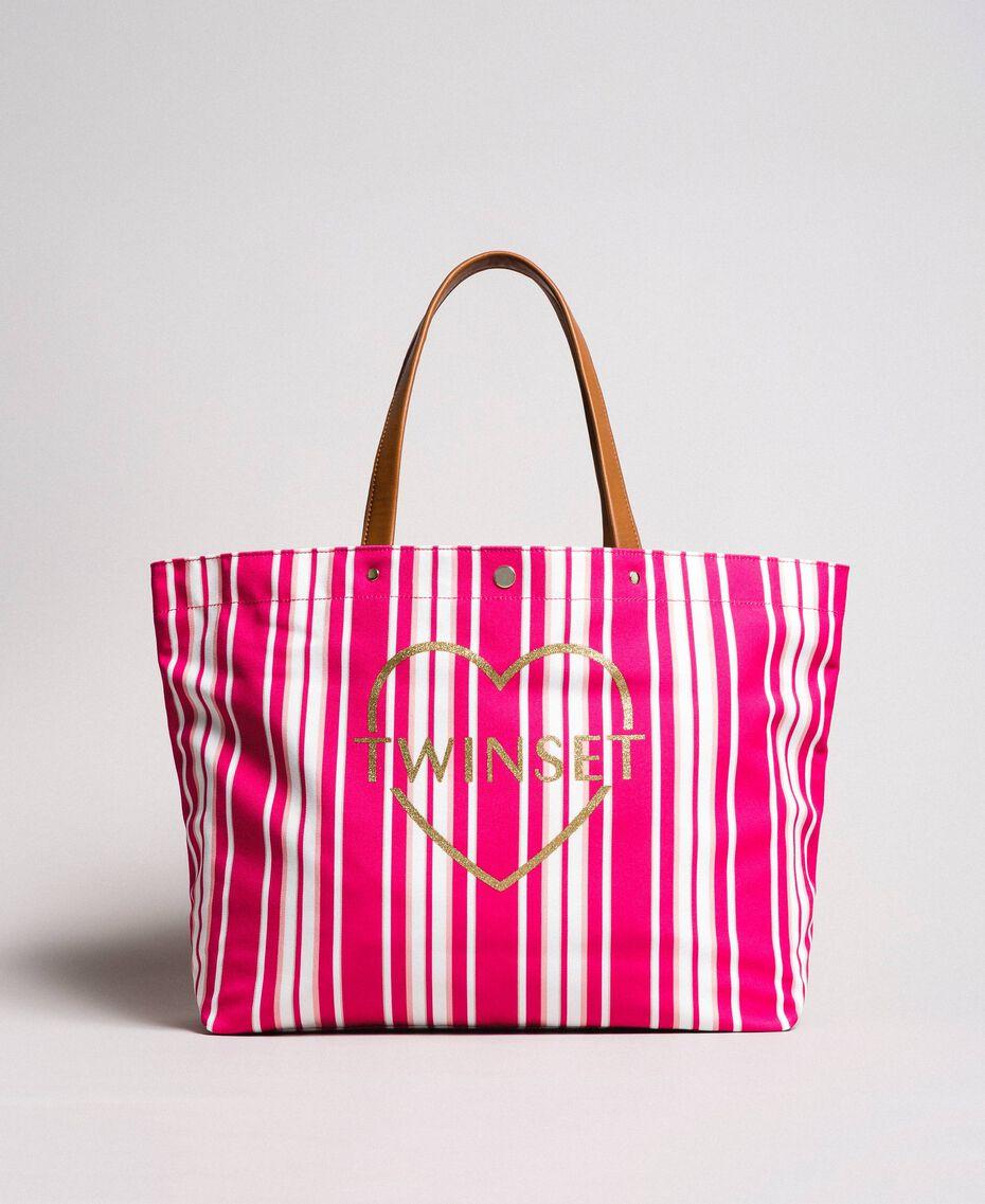 """Strandtasche mit Canvasstreifen Streifen Multicolour Pink / """"Tangerine Cream"""" Pink Frau 191LB4ALL-01"""