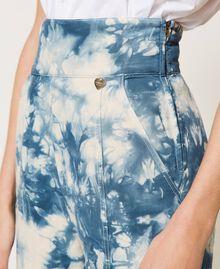 Pantalon taille haute tie & dye Tie Dye Blanc «Neige» / Bleu Femme 211TT2542-04