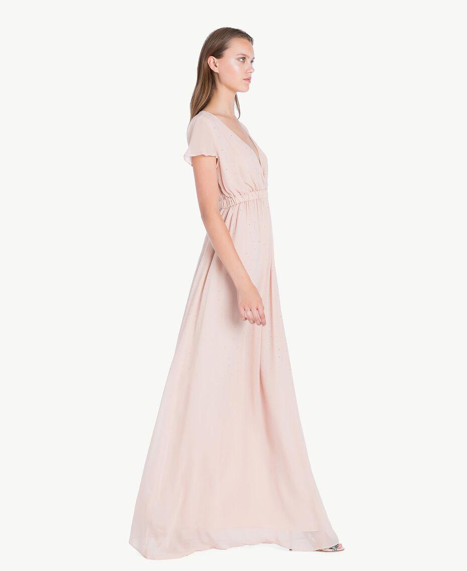 Langes Kleid mit Strassbesatz Nudebeige QA7PAB-03