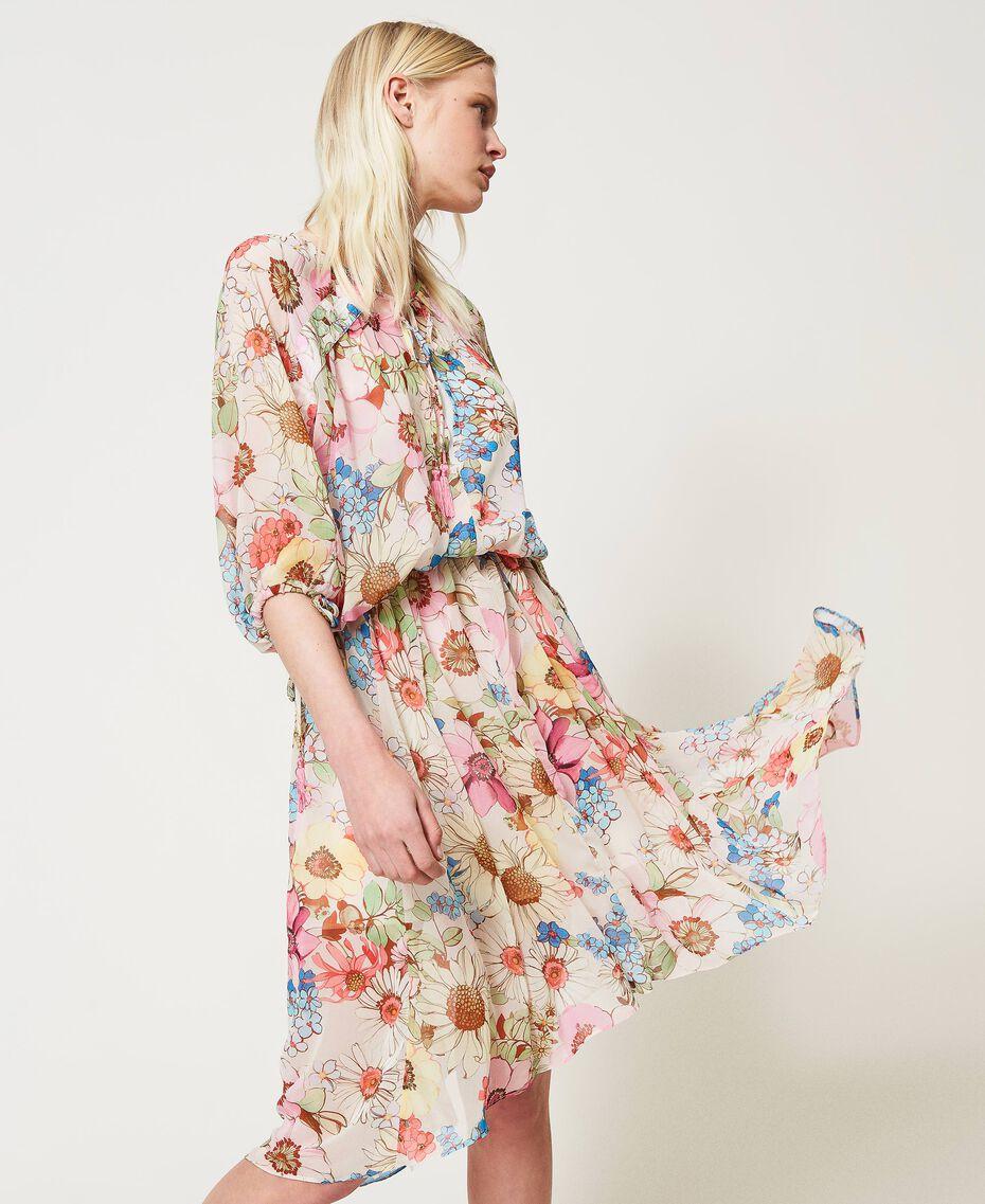 "Floral print midi dress ""Fuchsia Pink"" Large Floral Print Woman 211LM2JHH-03"
