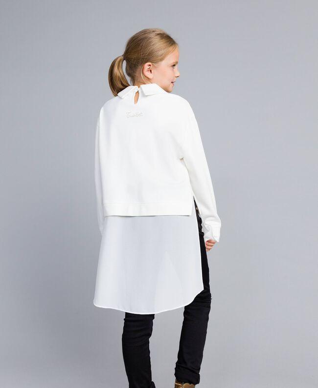 Maxi Milan stitch and georgette sweatshirt Off White Child GA82FU-03
