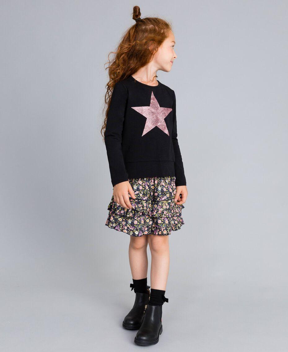 Printed viscose full skirt Micro Flower Print Child GA82TA-0S