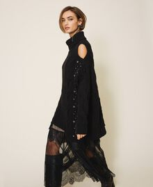 Maxi pull en laine et alpaga avec broderie Noir Femme 202TT3353-03