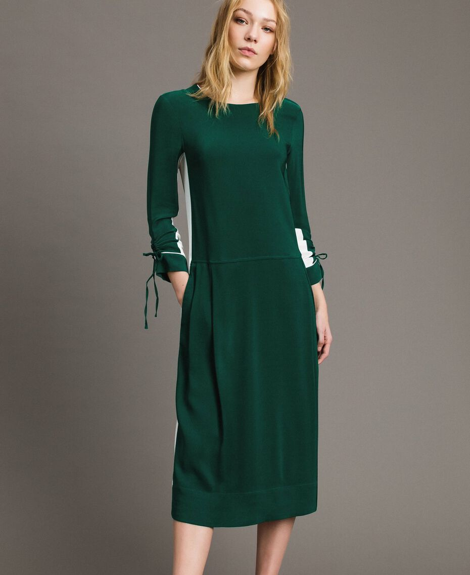 "Mid-length two-colour dress Two-tone ""Evergreen"" Green / Silk White Woman 191TP2325-01"