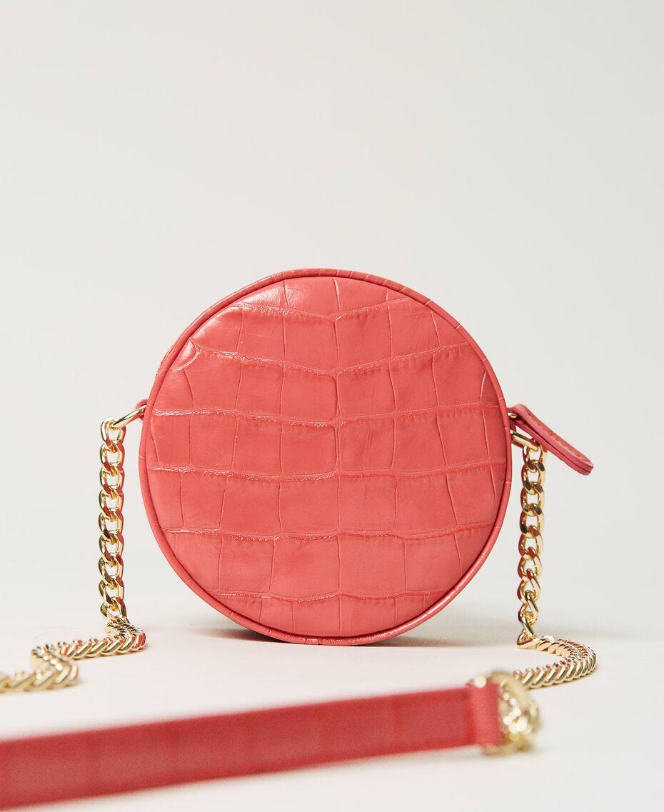 "Leather shoulder bag with crocodile print ""Neon"" Pink Croc Print Woman 211TD8034-03"