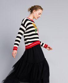 """Wool blend jumper """"Snow"""" White / Black Stripe Woman PA83HR-02"""