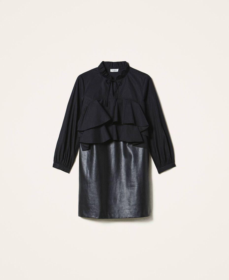 Minikleid aus Popeline und Lederimitat Schwarz Frau 202ST2052-0S