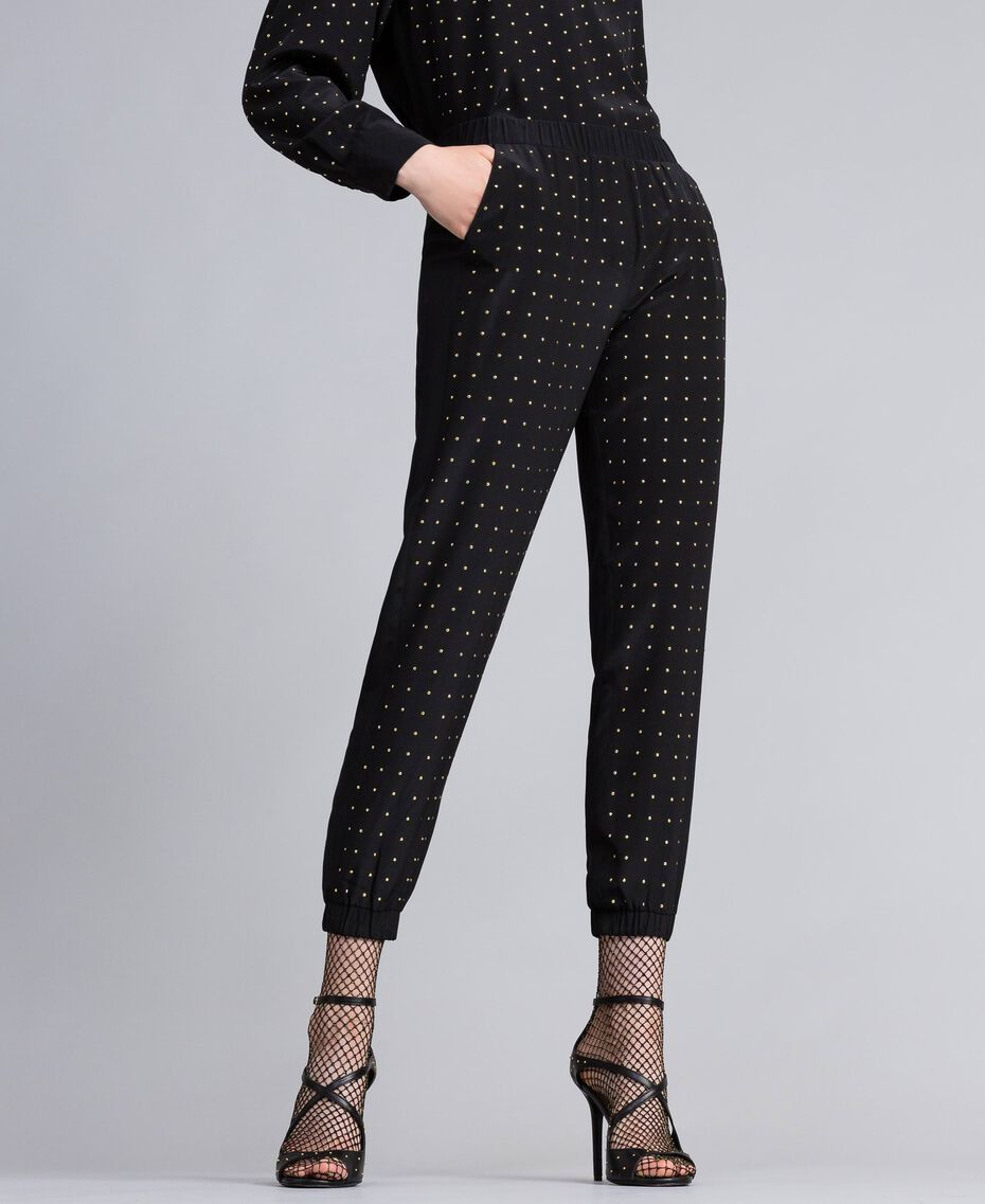 Studded silk jogging trousers Black Woman PA82EV-02