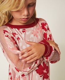 "Printed knit dress with tulle Peach / ""Cherry"" Red Flowers Animal Print Child 202GJ3641-04"