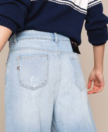 Wide leg jeans with five pockets Denim Blue Woman 201MP2281-04
