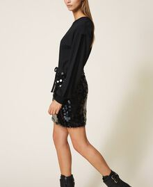 Plush fabric dress with sequins Black Woman 202MT2121-04