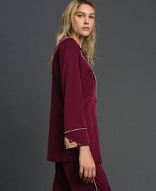 Satin tunic with lace Purple Red Woman 192LL2DJJ-02