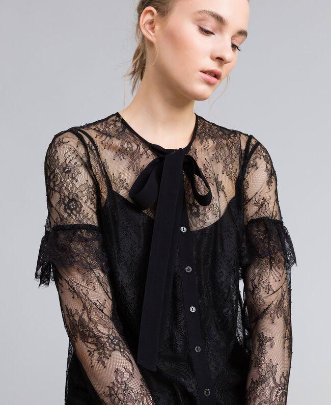 Camicia in pizzo Valencienne multicolor Nero Donna PA82FR-04