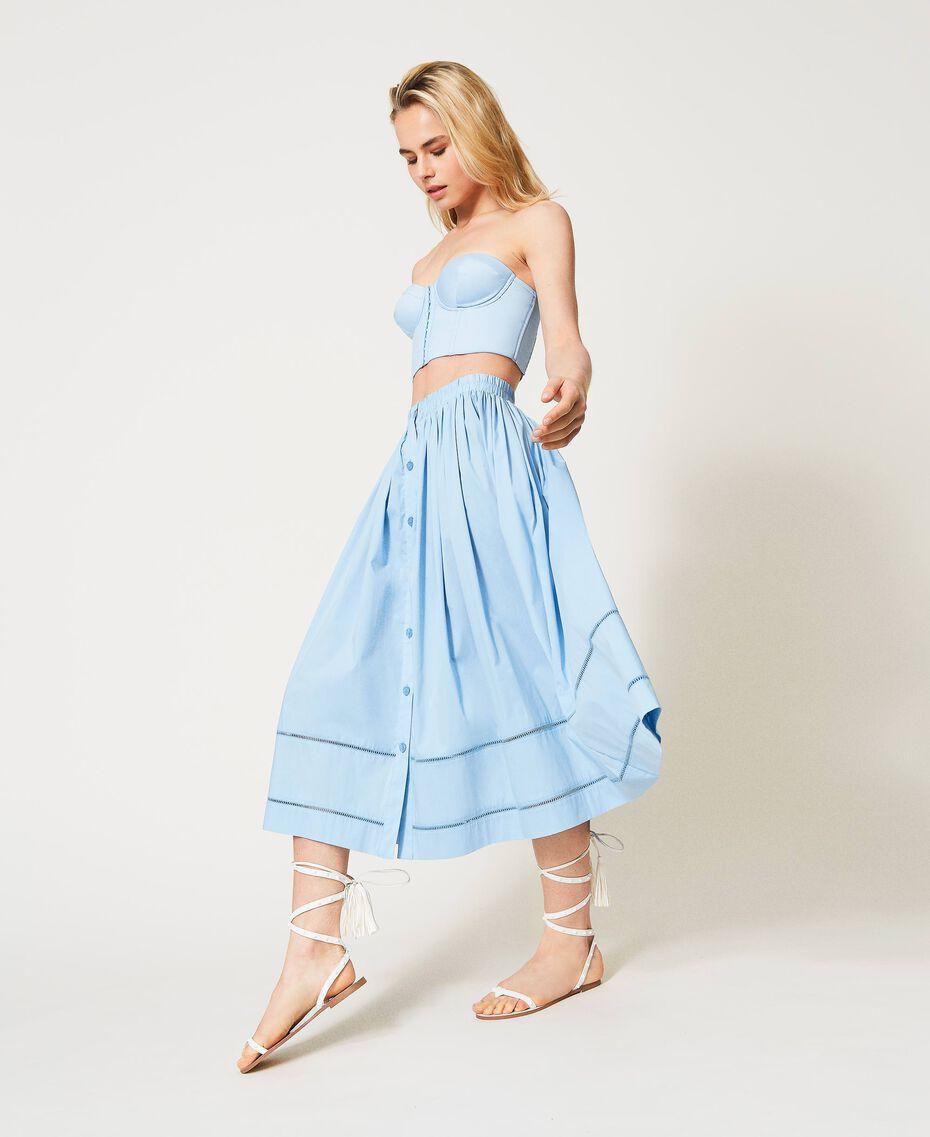 Jupe mi-longue en popeline Bleu «Ciel» Femme 211LM2EFF-01