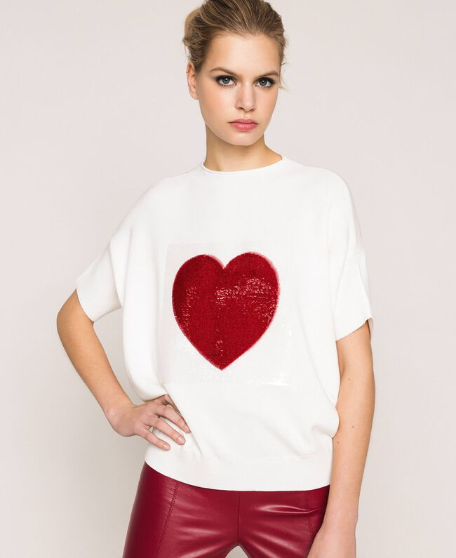 """Heart shaped jumper with heart and sequins Two-tone Lily / """"Venetian"""" Red Woman 201MP3120-05"""