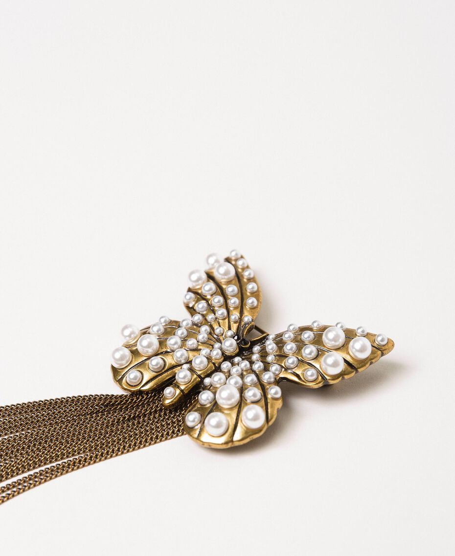 Broche avec papillon et franges Or «Laiton Vieilli Cuivré» Femme 201TA430F-02