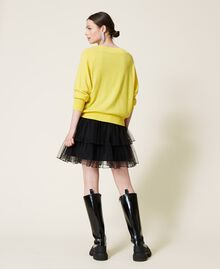 Maxi maglia e abito sottoveste in tulle Bicolor Sunny Yellow / Nero Donna 212AP3120-04