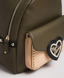 Two-tone faux leather backpack with studs Black Woman 192MA7104-02