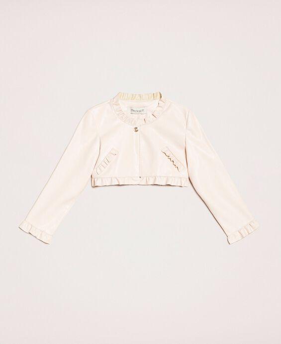 Куртка из искусственной кожи с воланами