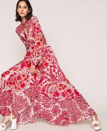 Jupe en crêpe georgette imprimé paisley Imprimé Paisley Rouge «Lave» / Rose«Boutons de Fleurs» Femme 201TP2535-0T
