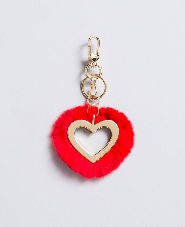 Porte-clés cœur en fourrure Framboise Foncé Femme OA8TE1-01